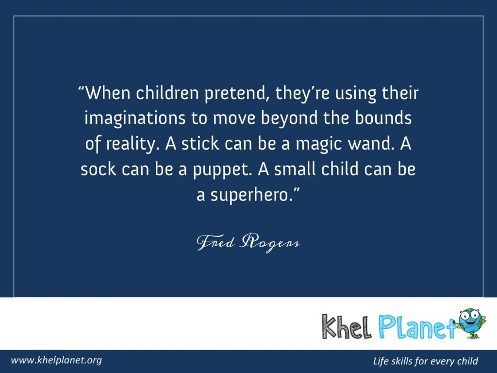 When children pretend, they're using their imaginations to move beyond the bounds of reality. A stick can be a magic wand. A sock can be a puppet. A small child can be a superhero. - Fred Rogers